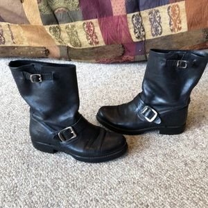 Frye Black leather harness short moto boots 6-6.5